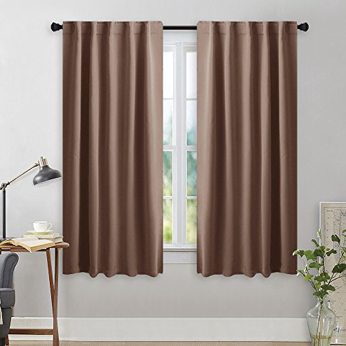 NICETOWN Blackout Curtain Panels for Girls Room - (Cappuccino Color) 42W x 45L, 2 Panels, Noise Reducing & Privacy Back Tab Thermal Insulated Room Darkening Draperies With 6 Loops Design