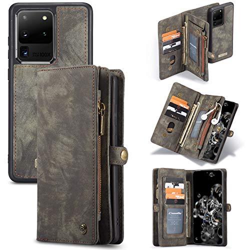 Simicoo Samsung S20 Plus Wallet Leather Case Detachable Magnetic Zipper Flip Case 11 Card Slots Holder Wrist Strap Handle Shockproof Cover Pocket Wallet Handbag for S20 Plus (Black, S20 Plus)