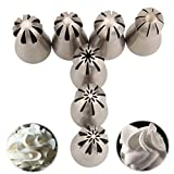 E-Senior 7Pcs/Set Stainless Steel Sphere Ball Russian Piping Tips Icing Nozzles Cupcake for DIY Decor Baking Tools (Russian 7PCS (B))