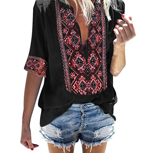 Boho Tops for Women,Chaofanjiancai Ladies V Neck Boho Embroidered Shirt Ethnic Style Blouse Half Sleeve Vintage Tops