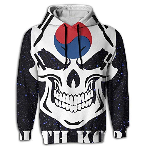 CWYQFH Korean Flag Skull South Korea Men's 3D Pullover Long Sleeve Hoodies Sweatshirt Tops