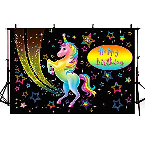 MEHOFOTO Black Unicorn Themed Birthday Photo Studio Booth Background Props Colorful Stars Kid Princess Happy Birthday Party Decorations Banner Backdrops for Photography 7x5ft from MEHOFOTO