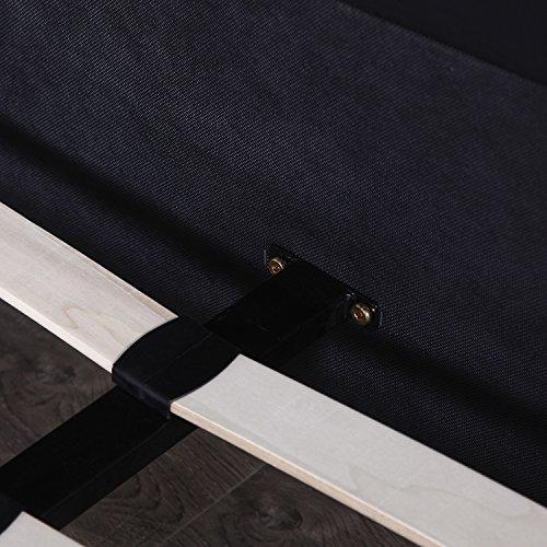 Walcut Headboard Queen Bedroom Double Size Leather Platform Slat Bed Frame Black