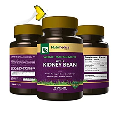 White Kidney Bean Dietary Supplement – Helps Block Carbohydrates, Suppress Appetite & Burn Fat - All Natural Vegetable Based - 90 Capsules - By Nutrimedica