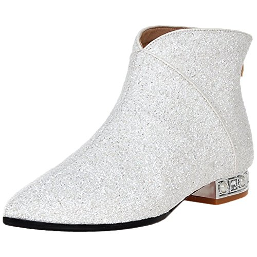 Royou Chelsea Toe Yiuoer White Bling Sequins Heel Women Zipper Boots Boots Ankle Pointed wXX1r