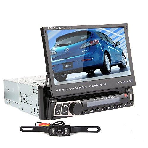 OUKU 1DIN Moniceiver Touchscreen Autoradio mit Bluetooth (DVD-MP3-CD-Player, 18cm / 7 Zoll Display, USB-SD-Slot, Fernbedienung, Freisprechanlage, AUX, abnehmbarem Bedienteil) schwarz + Rücksichtkamera