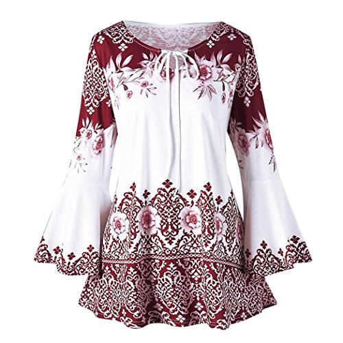 (iDWZA Women's Flare Sleeve Fashion Floral Printed Tops Blouses Keyhole T-Shirts (Red, M))