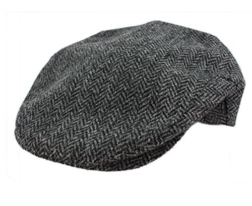 John Hanly Men's Irish Flat Cap Charcoal Grey Herringbone 100% Wool Made in Ireland (Herringbone Flat Cap)
