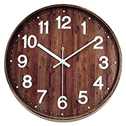 Foxtop Silent Non Ticking Battery Operated Country Style Wall Clock with Easy to Read 3D Numbers (12 inch, White Numerals, Brown Frame)