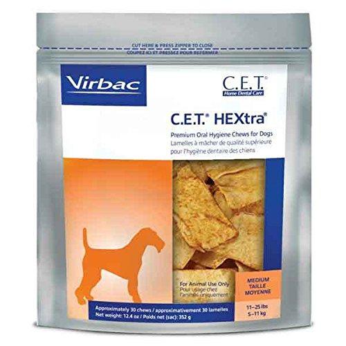 Hextra Premium Dental Chews - C.E.T. HEXtra Premium Oral Hygiene Chews For Dogs 30ct Treat Bags - Choose Size(Medium - Dogs 11 25lbs)