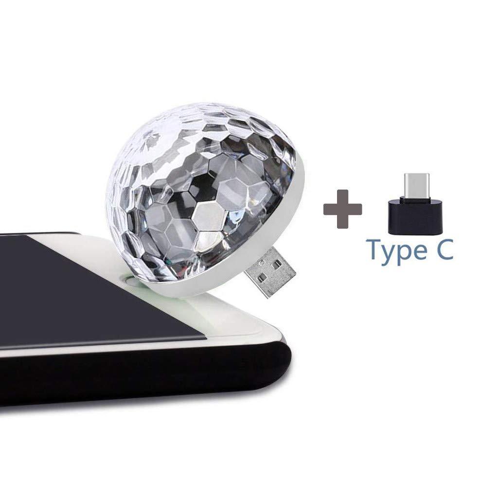 Disco Light,FTXJ USB Mini LED Night Light Color Changed by Sound Music Magic Lights LED Mushroom (White, Type-C) by FTXJ_Home Tool (Image #2)