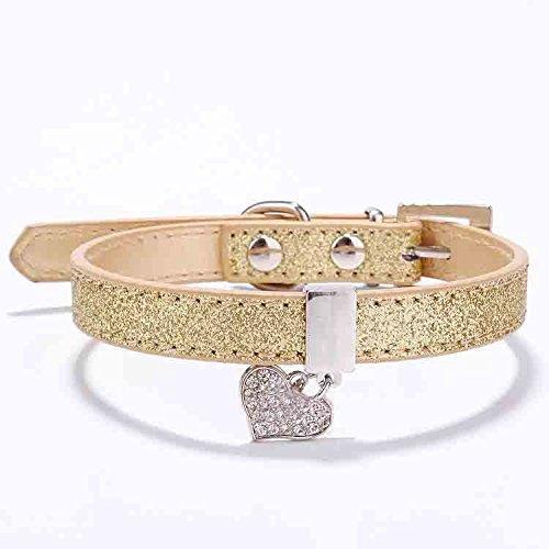 (TM) Glitter Pu Leather Dog Collars for Pet Puppy Dog with Rhinestone Bling Heart Diamond Pendant Size XS S 4 (Glitter Cat Collar)
