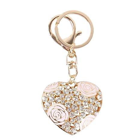Chic flor cristal llavero moda estilo rosa corazón llavero ...