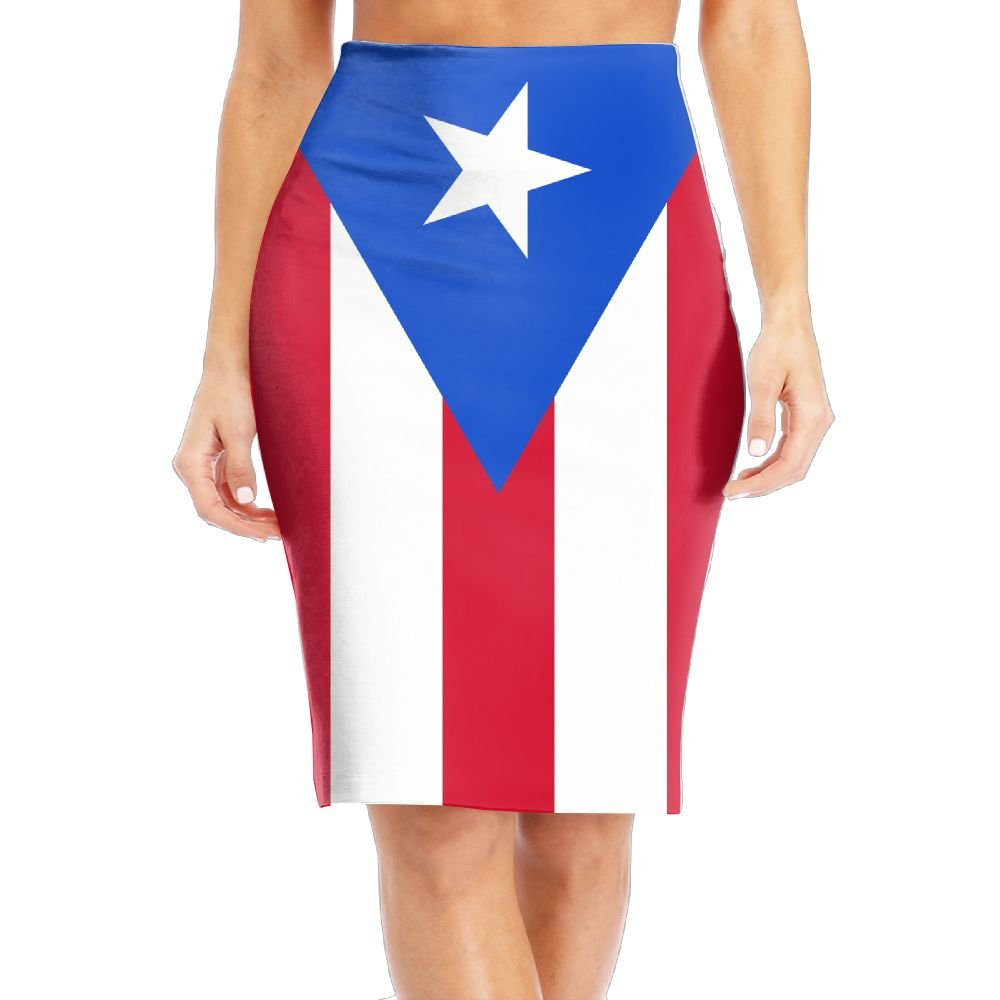 d24ed6f64a7 TO-JP Women s Classic Flag of Puerto Rico Long Pencil Skirt Knee Length  Dress at Amazon Women s Clothing store