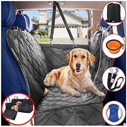 (B-comfort Dog Car Seat Covers Hammock for Pets-Back Seat and Doors Protector-Backseat Barrier-Side Flaps,Leak-Proof,Anti-Scratch,Nonslip,Machine Washable-Black-Sedan-Truck-SUV)