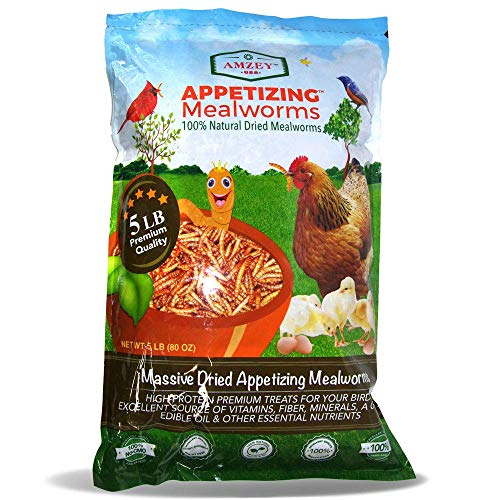 Appetizing Mealworms 5lbs-100% Non-GMO Dried Mealworms - High-Protein Meal Worm Treats -Perfect for Your Chickens,Ducks,Wild Birds,Turtles,Hamsters,Fish,and Hedgehogs