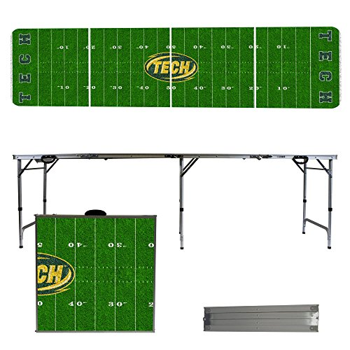 Arkansas Tech Wonder Boys & Golden Suns 8 Foot Portable Folding Tailgate Table Football Field (Tech Tailgate Pong Table)