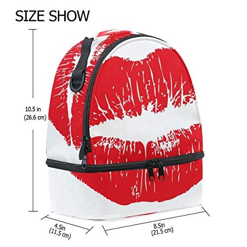 almuerzo grandes doble picnic hombro para color ajustable para labios Bolso sexy rojo de el correa U8qS8xw5