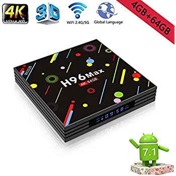 Amazon.com: Android 7.1 TV Box 4G+64GB H96 Max 4K Display Screen RK3328 UHD Quad-Core WiFi Ultra HD H.265 Bluetooth: MP3 Players & Accessories