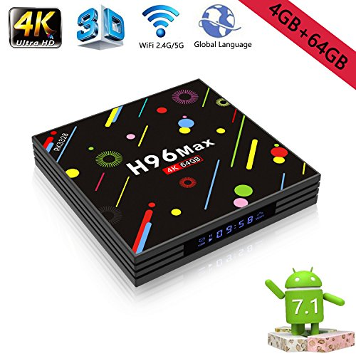Android 7.1 TV Box 4G+64GB H96 Max 4K Display Screen RK3328 UHD Quad-Core WiFi Ultra HD H.265 Bluetooth by Drizzle