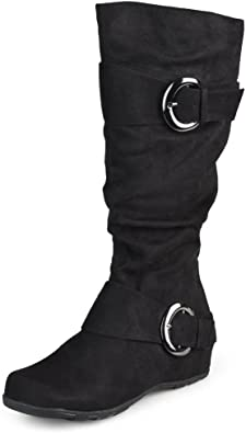 Wide-Calf Slouch Buckle Knee-High Boots