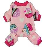 Fitwarm Sweet Cupcake Pet Clothes for Dog Pajamas PJS Coat Soft Velvet Pink Medium