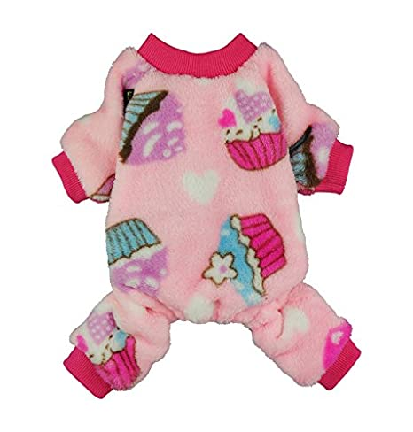 Fitwarm Sweet Cupcake Pet Clothes for Dog Pajamas PJS Coat Soft Velvet Pink