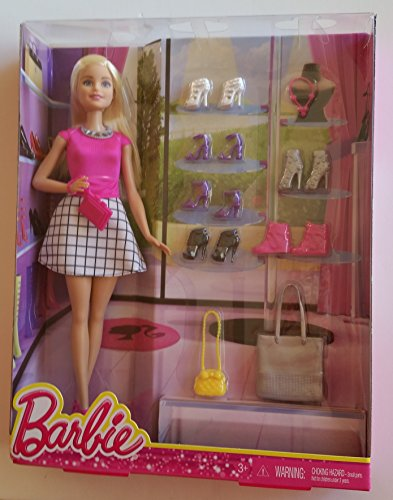 Blonde Fashionista Barbie Doll with 7 pairs of shoes & 3 fashion purses (11.5