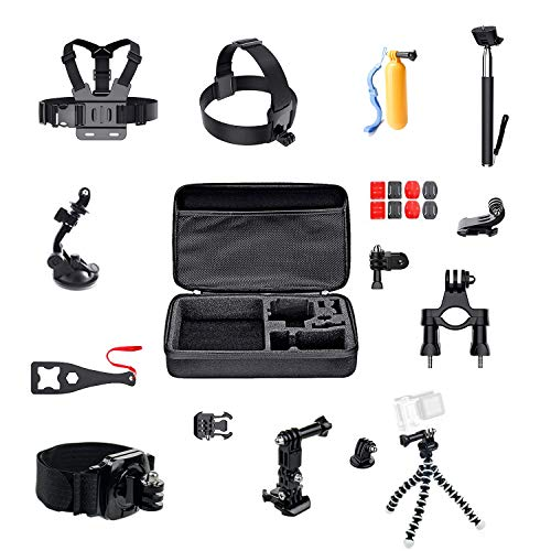 Digital Action Camera Accessories Kits for GoPro Hero7 Black/Sliver/White/Hero 6 5 4 3+ 3 2 1 Session Fussion/DJI OSMO Action/AKASO EK7000 4K / Campark/SJACM