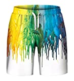 Aieoe Unisex Couple 3D Colorful Print Rave Flat Front Shorts Summer Casual Short Pants 2XL
