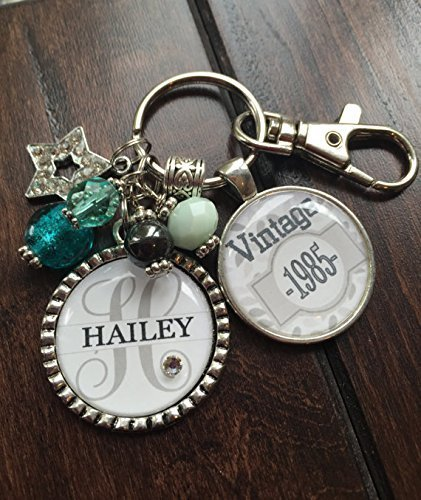 Birthday Gift For Her PERSONALIZED VINTAGE Necklace Or Key Chain 30th 40th 50th 21st