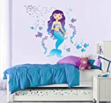 Mermaid Repositionable Fabric Wall Mural Decal Sticker for Nursery or Girl's Room