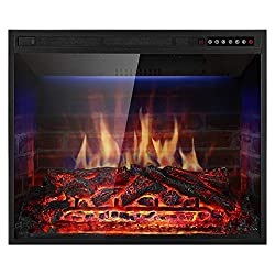 Xbeauty Electric Fireplace Insert Recessed in Wall Freestanding Heater w/Large Screen Multicolor Flames,Remote Control,750w/1500w,Black by Xbeauty
