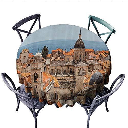 European Cityscape Decor Patterned Tablecloth Aerial View on The Old City of Dubrovnik City Walls Medieval Croatia European Deco Waterproof Table Cover for Kitchen (Round, 70 Inch, Multi)