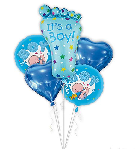 SGODA Its A Boy Foil Balloons Baby Shower Decorations Blue Balloon, 5pcs, 20 in