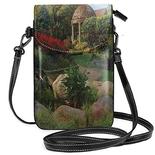 Women Small Cell Phone Purse Crossbody,Picture Of A Gazebo At The Sunken Gardens In Lincoln City Blooming Green ()