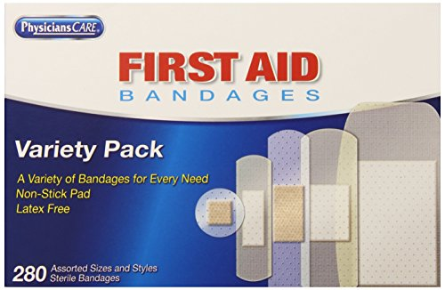 PhysiciansCare by First Aid Only Adhesive Bandages, Sheer and Clear, Assorted Sizes, 280 Count (Latex Free Bandages compare prices)