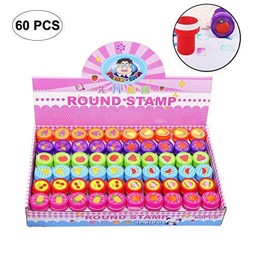 60 Pcs Assorted Stampers Kids - Birthday Party Favors, Make Your Own Greeting Cards Decorate Stationery by Pawaca