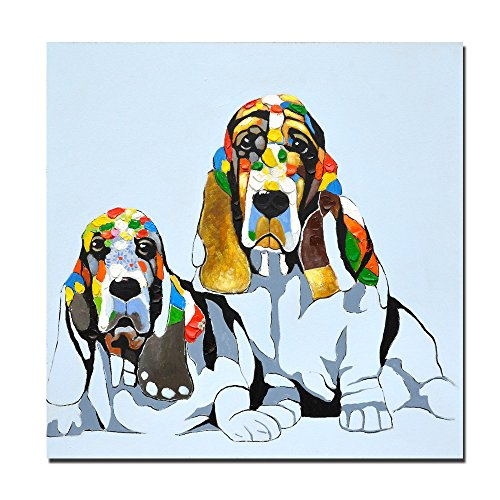 Kas Home Modern Art Original Design Basset Hound Pet Dog Wall Art, Oil Painting on Canvas Print Wall Paintings for Living Room (16x16 inch, Framed)