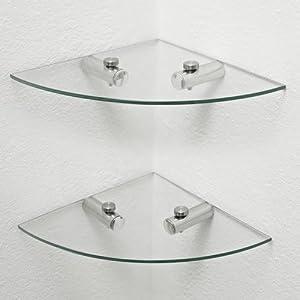 Wonderful 2 X Glass Corner Shelves, Bathroom Shelves, Kitchen Shelves, Storage