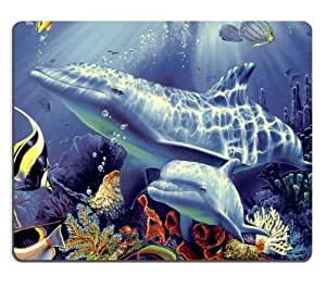 Dolphin Marine Ocean Coral Fish Blue Sunlight Reef Sea Animal Mouse Pads Customized Made to Order Support Ready 9 7/8 Inch (250mm) X 7 7/8 Inch (200mm) X 1/16 Inch (2mm) High Quality Eco Friendly Cloth with Neoprene Rubber Luxlady Mouse Pad Desktop Mousepad Laptop Mousepads Comfortable Computer Mouse Mat Cute Gaming Mouse pad