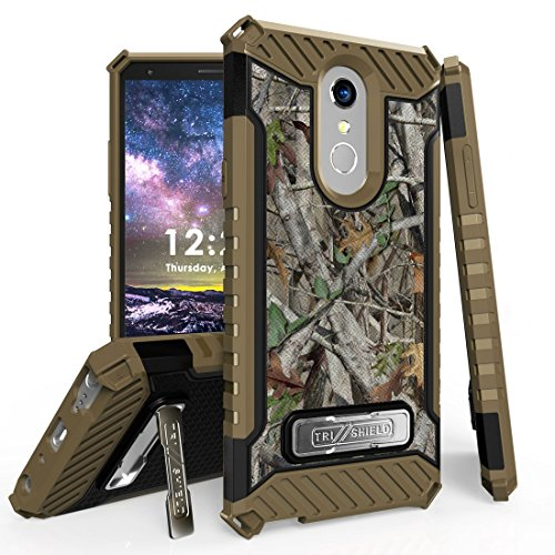 Beyond Cell Rugged Military Grade Drop Tested [MIL-STD 810G-516.6] Kickstand Cover Case and Atom Cloth for LG Stylo 4+ Plus/LG Stylo 4 (2018) - Tree Camo from Bemz Depot