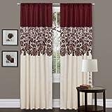 Triangle Home Fashions Lush Decor Estate Garden Curtain Panel, Red