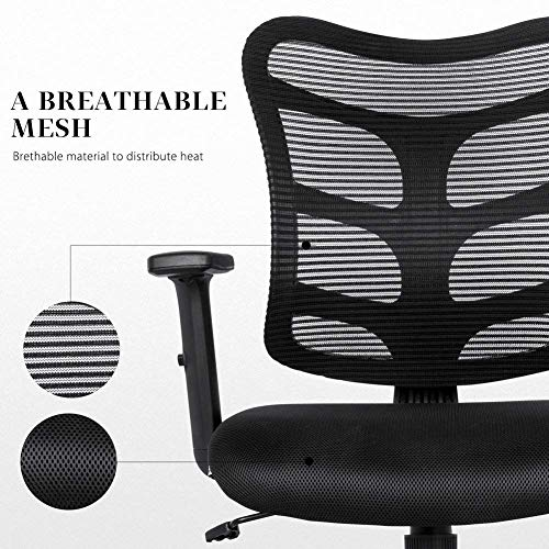Ergonomic Office Chair Lumbar Support Mesh Chair Computer Desk Task Chair with Armrests by Smugdesk (Image #3)