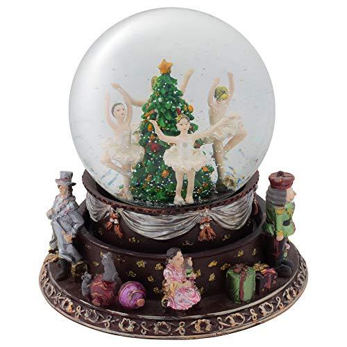 Elanze Designs Ballerina Nutcracker Trio Rotating Figurine 120MM Water Globe Plays Tune Nutcracker Suite -