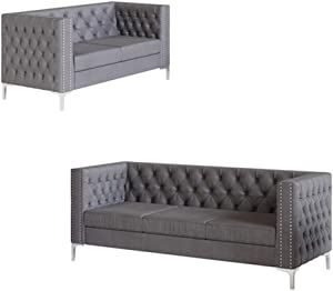 Morden Fort Couches for Living Room, Sofas for Living Room Furniture Sets, Small Couch and Sofa Set 2 Pieces, Fabric, Velvet Grey