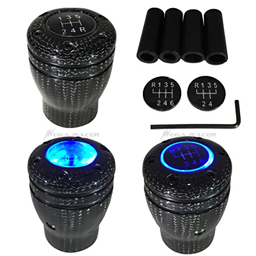 - Mega Racer Carbon Fiber Manual Transmission Speed 5 6 Blue LED Light Gear Stick Shift Knob JDM Style Auto Car Shifter Console Lever