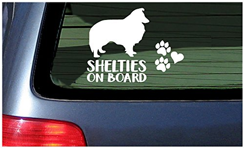 Shelties On Board - White Window Sticker Decal Shetland Sheepdog Dog Puppy Prints Paws and Heart