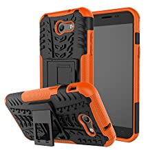 Galaxy J3 Emerge Case, Galaxy J3 2017 Case, MCUK Heavy Duty Rugged Dual Layer - Soft/Hard Shell 2 in 1 Tough Protective Cover Case with Kickstand for Samsung Galaxy J3 Emerge / J3 2017 (Orange)