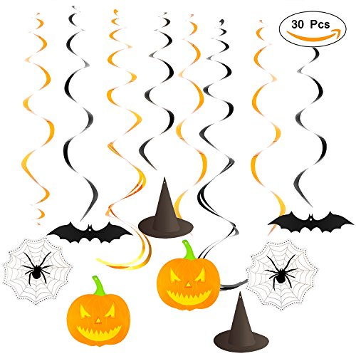 Halloween Party Creepy Creatures Hanging Swirl Decoration ( Bats, Witch Hats, Pumpkins and Spiders ), Foil & paper ,30 pcs by Ccfoud (Halloween Paper Decorations)